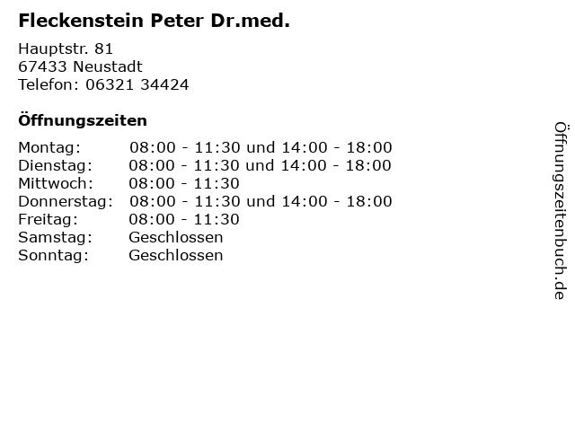 Fleckenstein Peter Dr.med. in Neustadt: Adresse und Öffnungszeiten