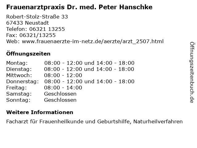 Frauenarztpraxis Dr. med. Peter Hanschke in Neustadt: Adresse und Öffnungszeiten