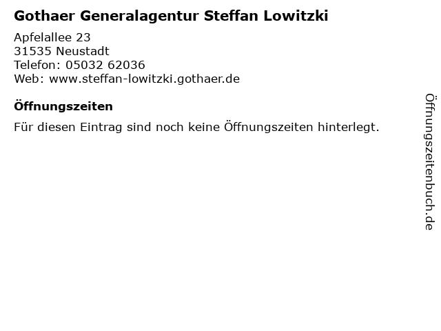 Gothaer Generalagentur Steffan Lowitzki in Neustadt: Adresse und Öffnungszeiten
