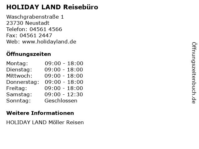 HOLIDAY LAND Reisebüro in Neustadt: Adresse und Öffnungszeiten