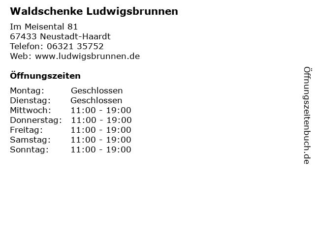 Waldschenke Ludwigsbrunnen in Neustadt-Haardt: Adresse und Öffnungszeiten