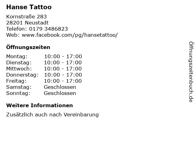 Hanse Tattoo in Neustadt: Adresse und Öffnungszeiten