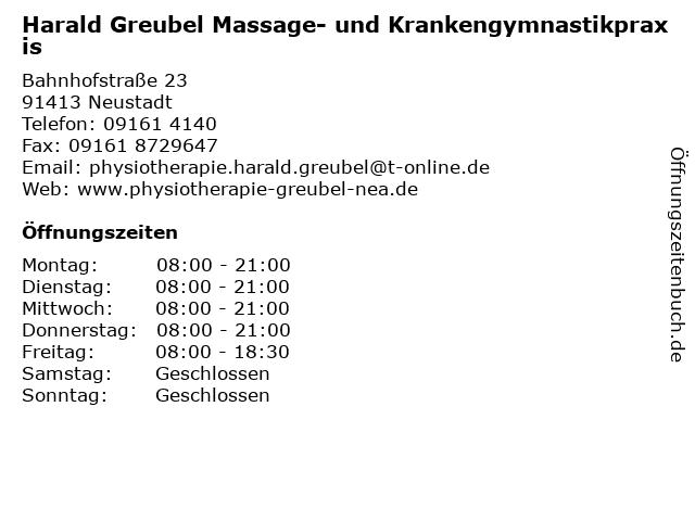 Harald Greubel Massage- und Krankengymnastikpraxis in Neustadt: Adresse und Öffnungszeiten