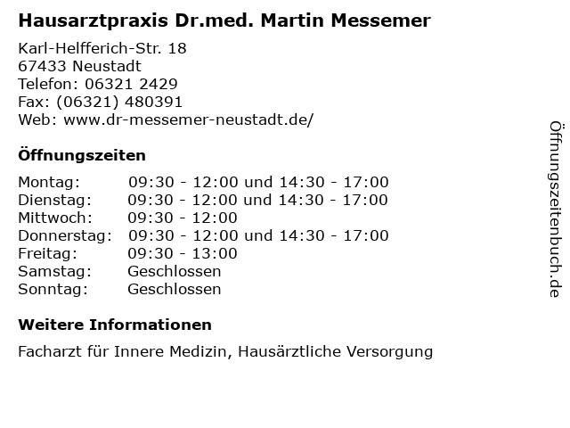 Hausarztpraxis Dr.med. Martin Messemer in Neustadt: Adresse und Öffnungszeiten