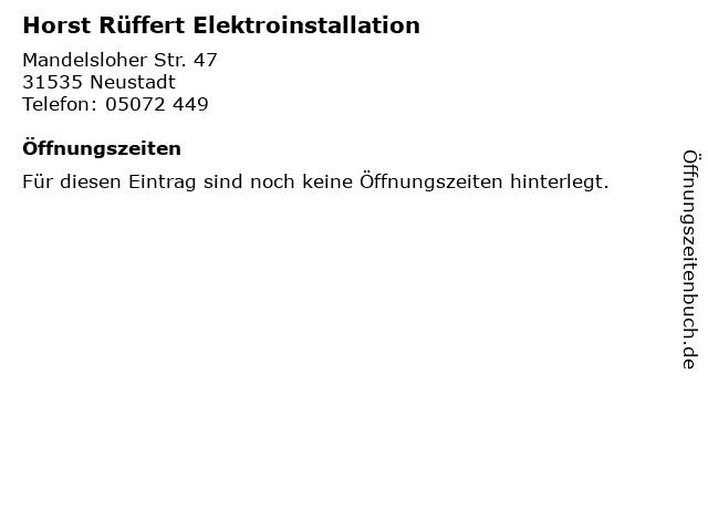 Horst Rüffert Elektroinstallation in Neustadt: Adresse und Öffnungszeiten