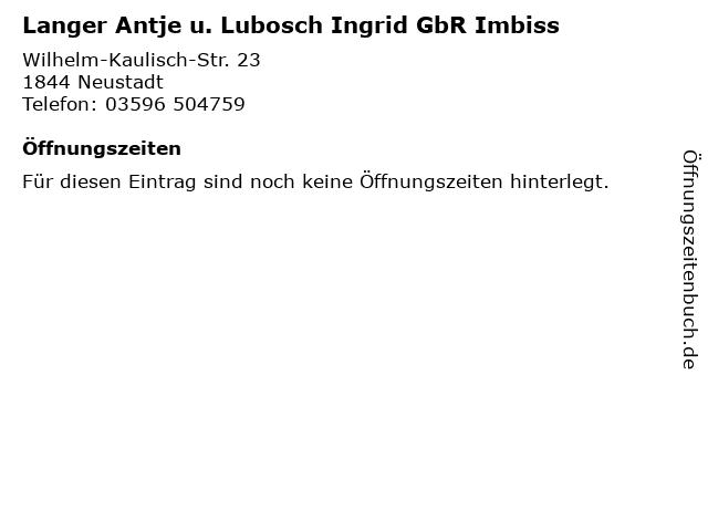 Langer Antje u. Lubosch Ingrid GbR Imbiss in Neustadt: Adresse und Öffnungszeiten