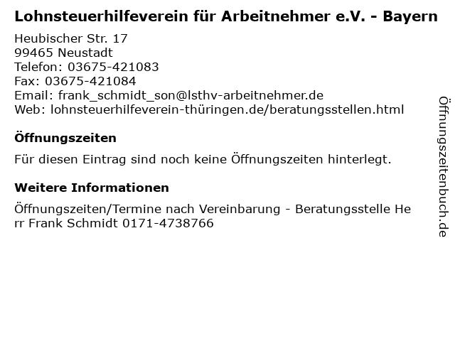 Lohnsteuerhilfeverein für Arbeitnehmer e.V. - Bayern in Neustadt: Adresse und Öffnungszeiten