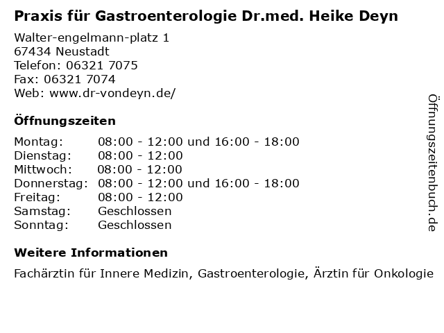 Praxis für Gastroenterologie Dr.med. Heike Deyn in Neustadt: Adresse und Öffnungszeiten