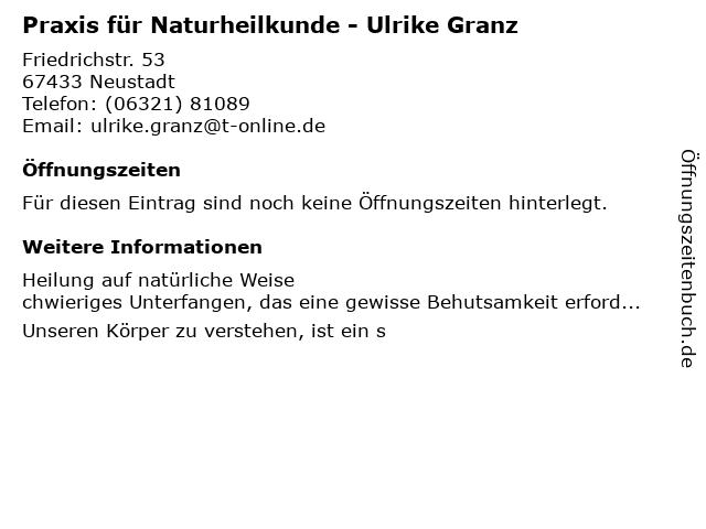 Praxis für Naturheilkunde - Ulrike Granz in Neustadt an der Weinstraße: Adresse und Öffnungszeiten
