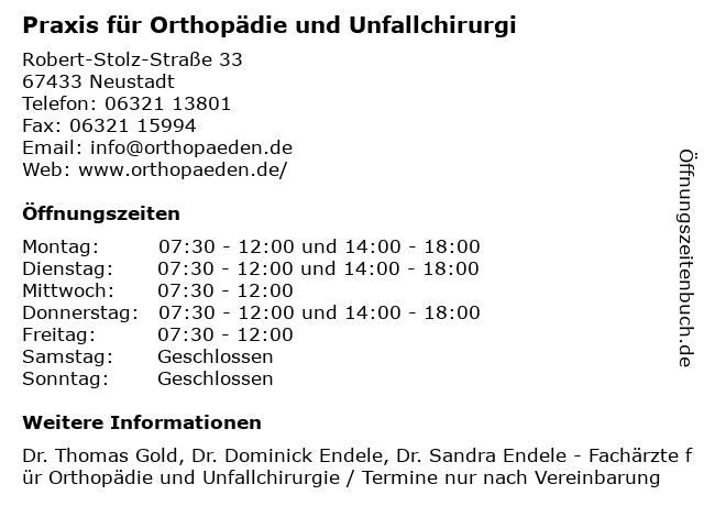 Praxis für Orthopädie und Unfallchirurgi in Neustadt: Adresse und Öffnungszeiten