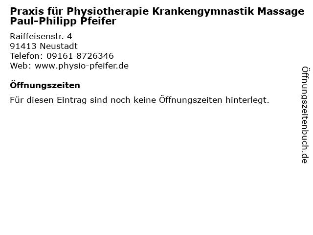 Praxis für Physiotherapie Krankengymnastik Massage Paul-Philipp Pfeifer in Neustadt: Adresse und Öffnungszeiten