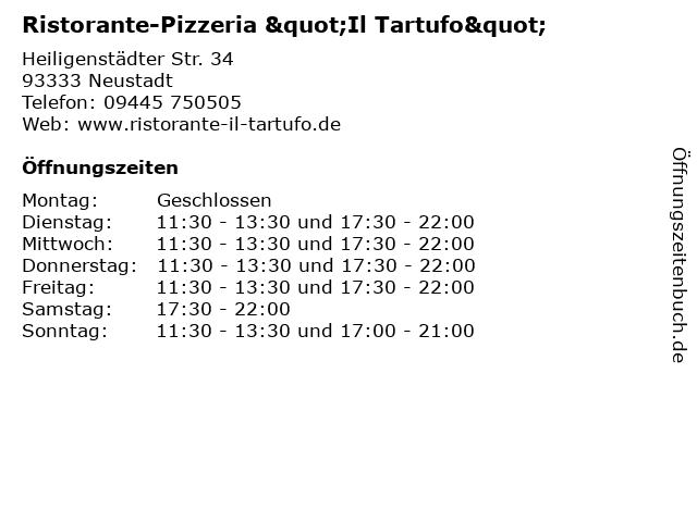 """Ristorante-Pizzeria """"Il Tartufo"""" in Neustadt: Adresse und Öffnungszeiten"""