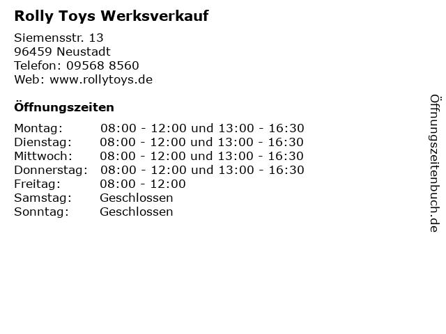 Rolly Toys Werksverkauf in Neustadt: Adresse und Öffnungszeiten
