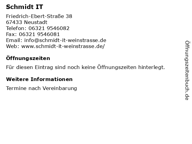 Schmidt IT in Neustadt: Adresse und Öffnungszeiten