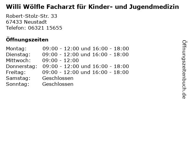 Willi Wölfle Facharzt für Kinder- und Jugendmedizin in Neustadt: Adresse und Öffnungszeiten