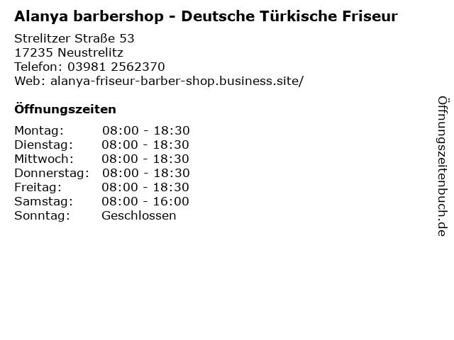 Alanya barbershop - Deutsche Türkische Friseur in Neustrelitz: Adresse und Öffnungszeiten