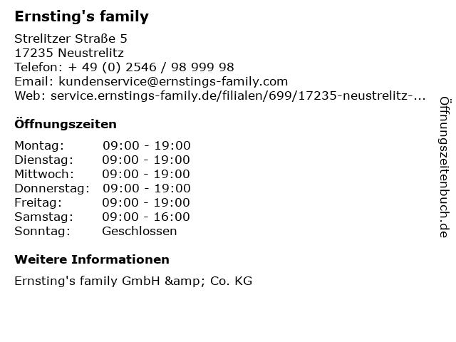 Ernsting's family in Neustrelitz: Adresse und Öffnungszeiten