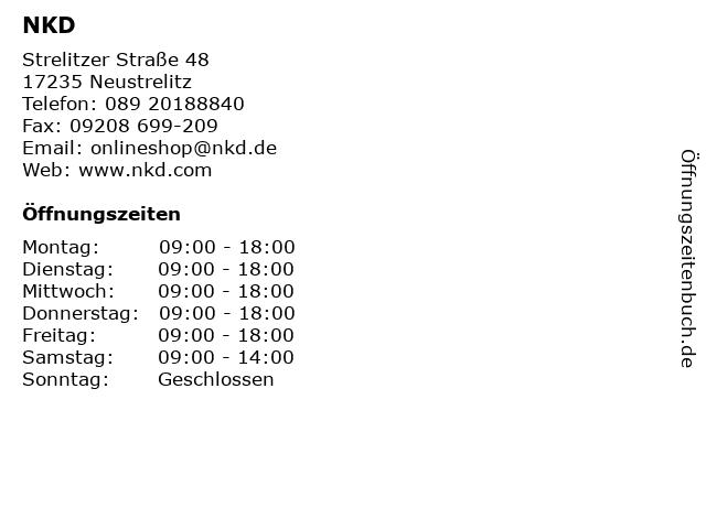 NKD in Neustrelitz: Adresse und Öffnungszeiten
