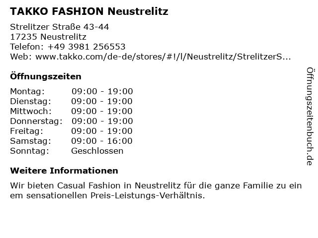 Takko Fashion in Neustrelitz: Adresse und Öffnungszeiten