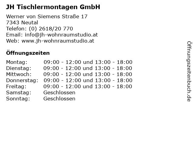 JH Tischlermontagen GmbH in Neutal: Adresse und Öffnungszeiten