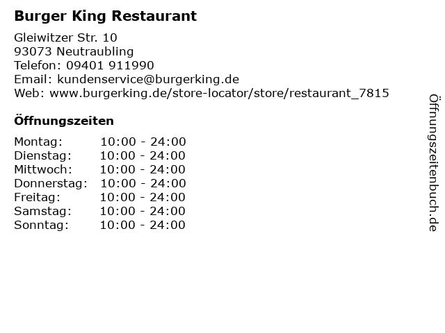 Burger King Restaurant in Neutraubling: Adresse und Öffnungszeiten