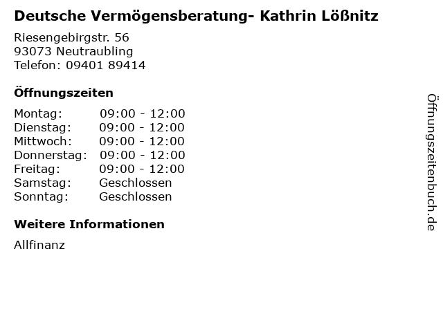 Deutsche Vermögensberatung- Kathrin Lößnitz in Neutraubling: Adresse und Öffnungszeiten