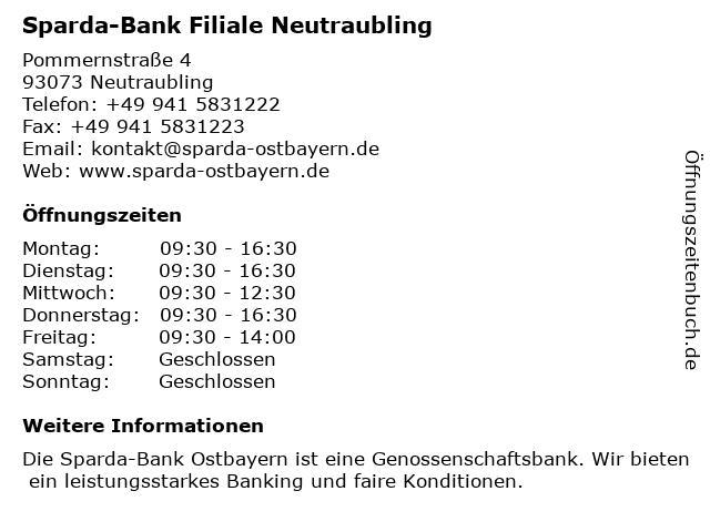 Sparda-Bank Filiale Neutraubling in Neutraubling: Adresse und Öffnungszeiten