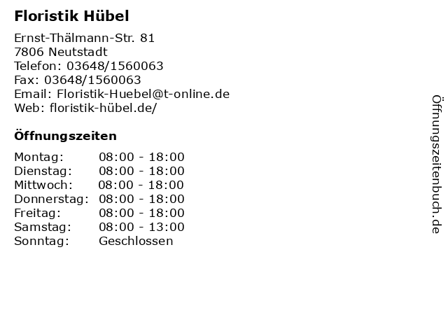 Floristik Hübel in Neutstadt: Adresse und Öffnungszeiten