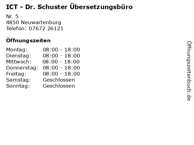 ICT - Dr. Schuster Übersetzungsbüro in Neuwartenburg: Adresse und Öffnungszeiten