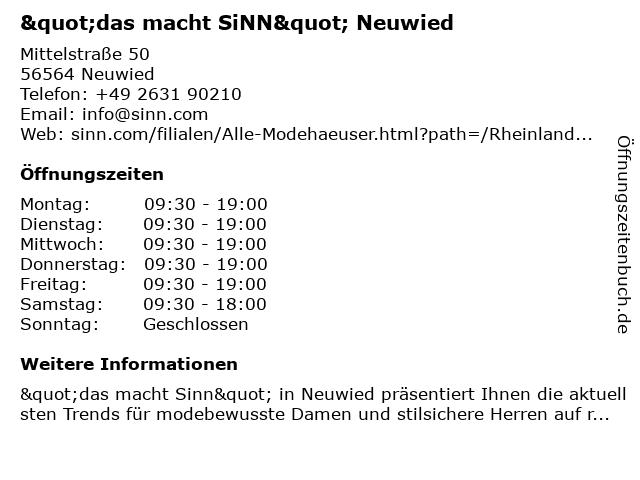 """""""das macht SiNN"""" Neuwied in Neuwied: Adresse und Öffnungszeiten"""