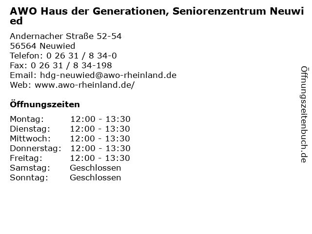 AWO Haus der Generationen, Seniorenzentrum Neuwied in Neuwied: Adresse und Öffnungszeiten