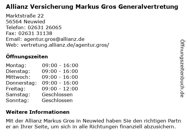 Allianz Versicherung - Hauptvertretung Markus Gros in Neuwied: Adresse und Öffnungszeiten