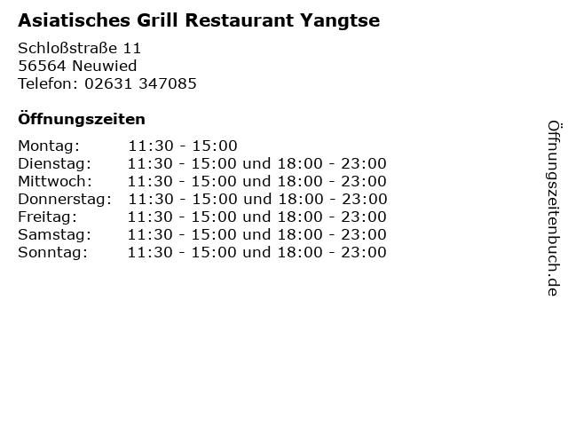 Asiatisches Grill Restaurant Yangtse in Neuwied: Adresse und Öffnungszeiten