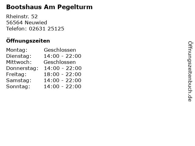 Bootshaus Am Pegelturm in Neuwied: Adresse und Öffnungszeiten