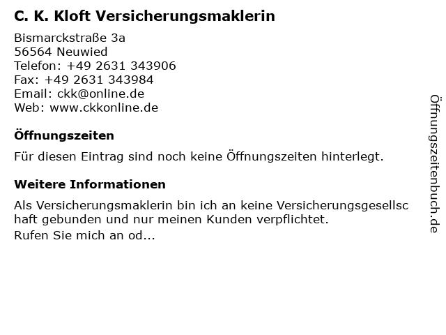 C. K. Kloft Versicherungsmaklerin in Neuwied: Adresse und Öffnungszeiten