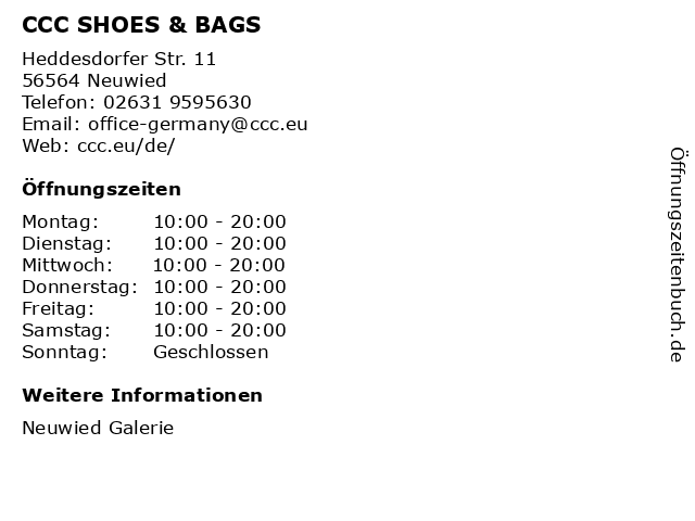 CCC SHOES & BAGS in Neuwied: Adresse und Öffnungszeiten
