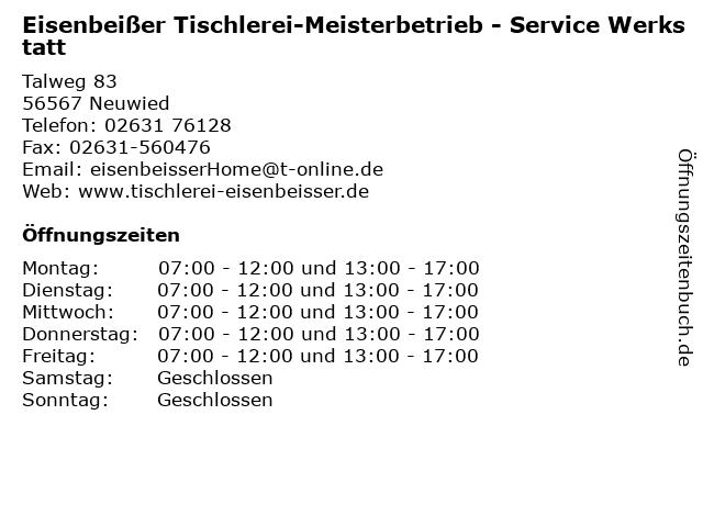 Eisenbeißer Tischlerei-Meisterbetrieb - Service Werkstatt in Neuwied: Adresse und Öffnungszeiten