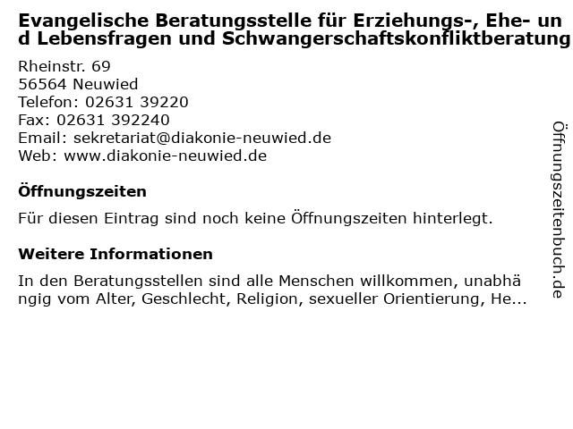 Evangelische Beratungsstelle für Erziehungs-, Ehe- und Lebensfragen und Schwangerschaftskonfliktberatung in Neuwied: Adresse und Öffnungszeiten
