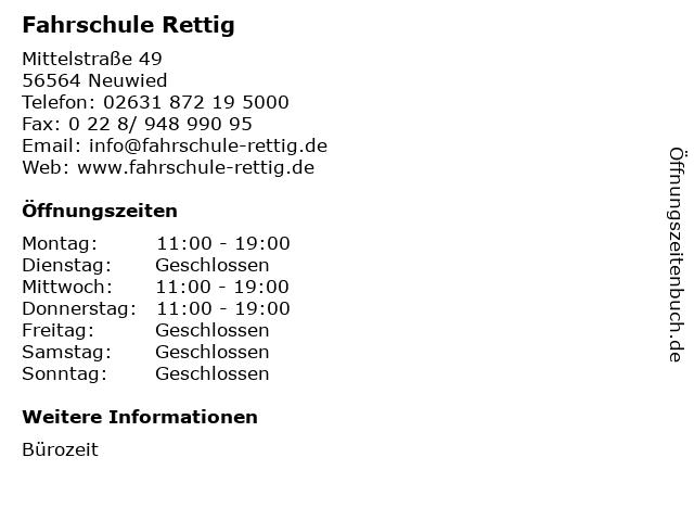 Fahrschule Rettig in Neuwied: Adresse und Öffnungszeiten