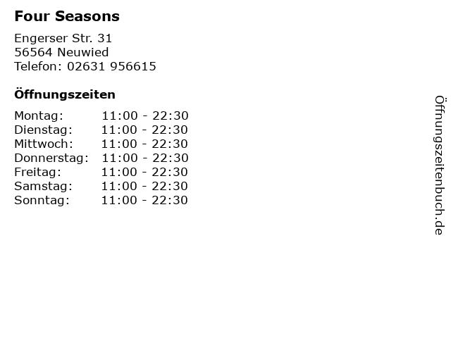 Four Seasons in Neuwied: Adresse und Öffnungszeiten