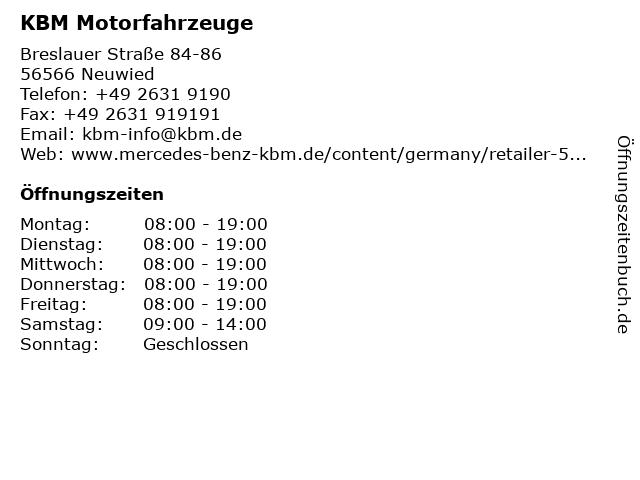 KBM Motorfahrzeuge in Neuwied: Adresse und Öffnungszeiten