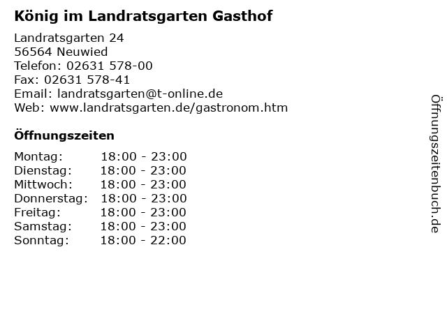 König im Landratsgarten Gasthof in Neuwied: Adresse und Öffnungszeiten
