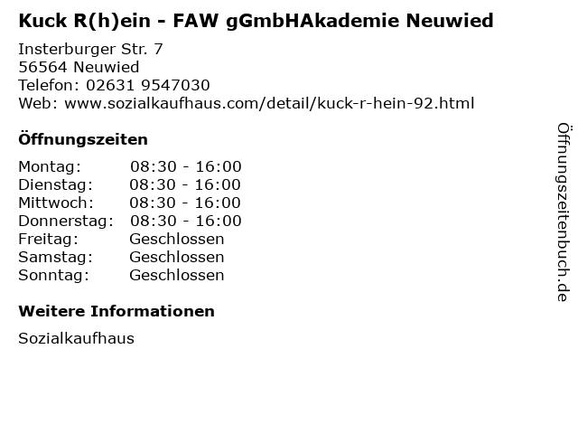 Kuck R(h)ein - FAW gGmbHAkademie Neuwied in Neuwied: Adresse und Öffnungszeiten