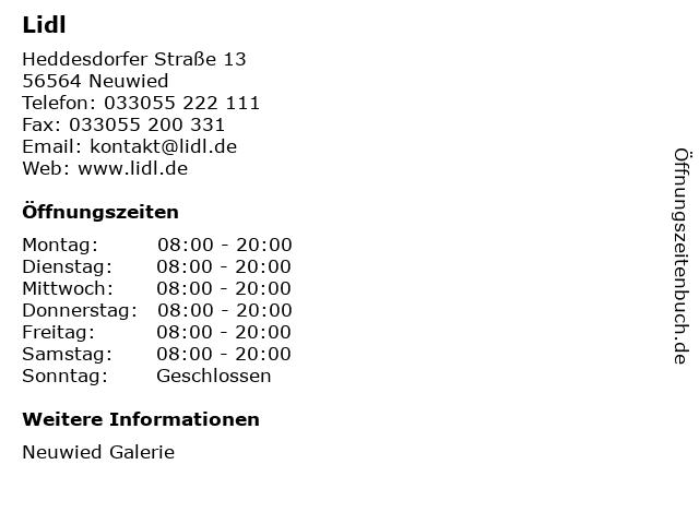 Lidl Dienstleistung GmbH & Co. KG in Neuwied: Adresse und Öffnungszeiten
