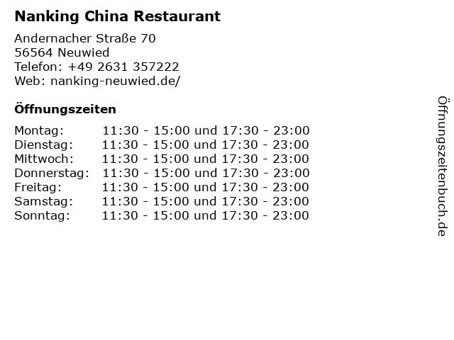 ᐅ öffnungszeiten Nanking China Restaurant Andernacher Straße 70