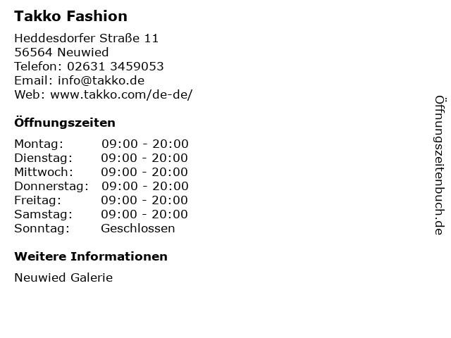 Takko Fashion in Neuwied: Adresse und Öffnungszeiten