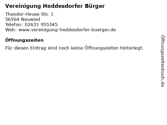 Vereinigung Heddesdorfer Bürger in Neuwied: Adresse und Öffnungszeiten