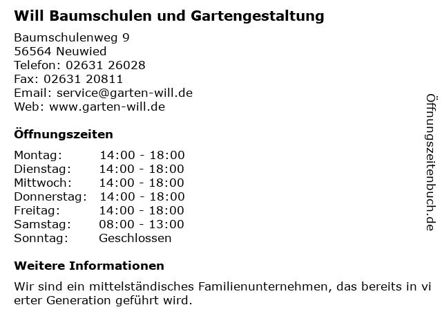 Will Baumschulen und Gartengestaltung in Neuwied: Adresse und Öffnungszeiten