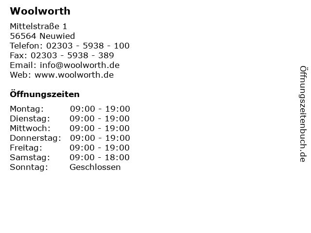 Woolworth in Neuwied: Adresse und Öffnungszeiten