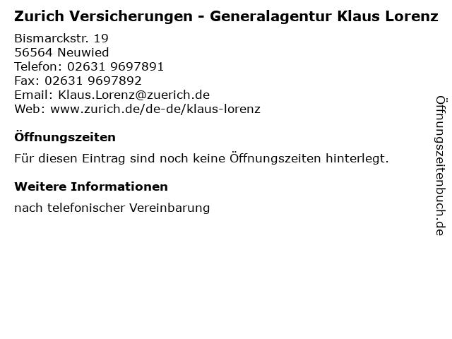 Zurich Versicherungen - Generalagentur Klaus Lorenz in Neuwied: Adresse und Öffnungszeiten